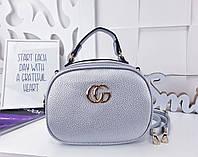 Женская сумка-клатч цвета серебро, из искусственной кожи (под бренд)