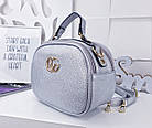 Женская сумка-клатч цвета серебро, из искусственной кожи (под бренд), фото 5