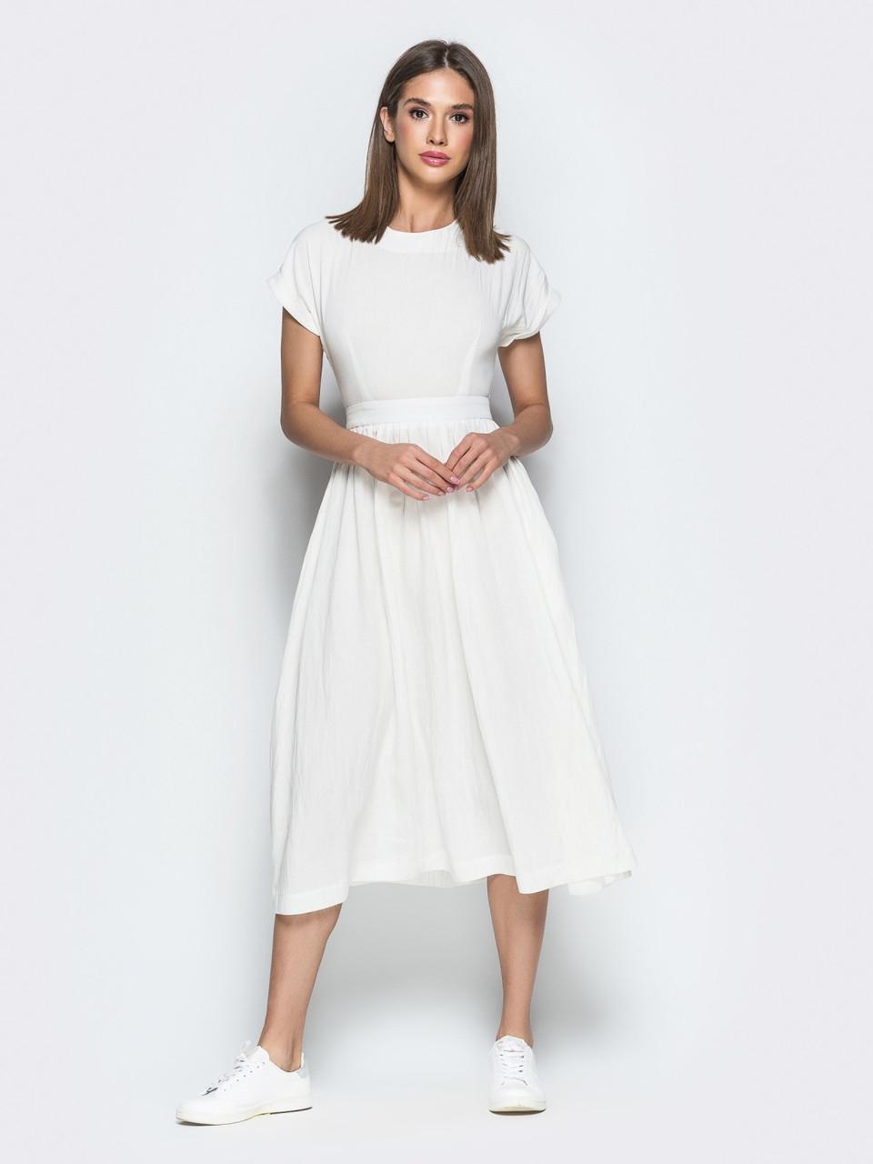 4539a7401335378 Белое летнее платье из натурального льна с открытой спинкой р.44,46 ...