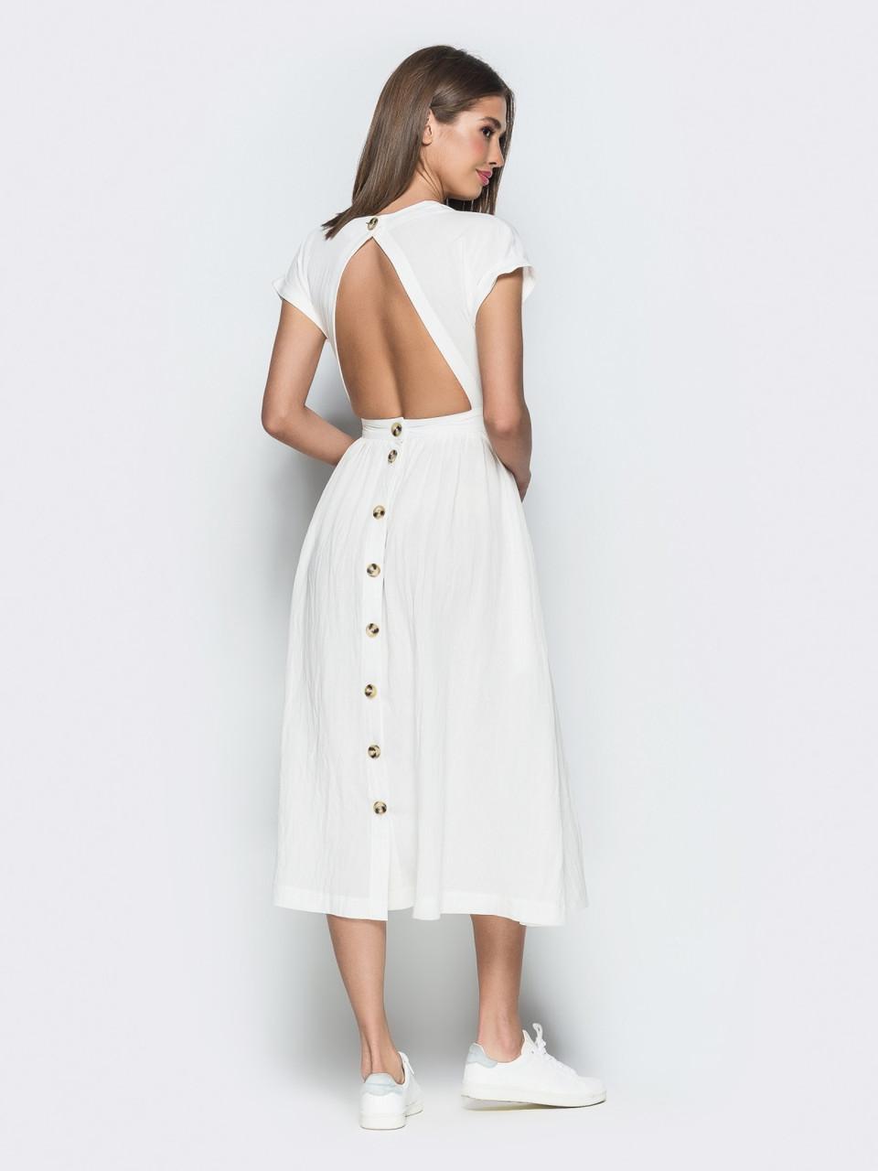 775dce609d61f98 ... Белое летнее платье из натурального льна с открытой спинкой р.44,46,48