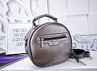 Женский круглый клатч цвета бронза, эко кожа (под бренд), фото 3