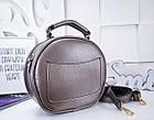 Женский круглый клатч цвета бронза, эко кожа (под бренд), фото 5