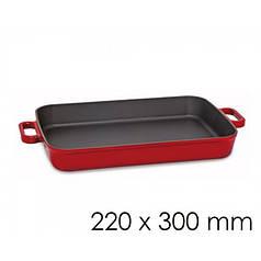 Сковорода сервірувальна з 2 ручками - червоного кольору - 22 х 30 см SPGK220