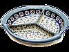 Керамическая менажница большая 31. Блюдо тройное с разделителем Chamomile Paradise - Blue