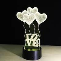 ✅ Декоративный 3D светильник Сердца ( 7 цветов)