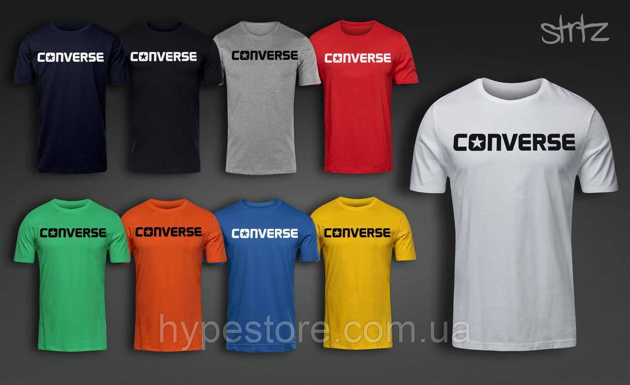 Мужская футболка, спортивная футболка, чоловіча футболка Converse (черный лого), Реплика