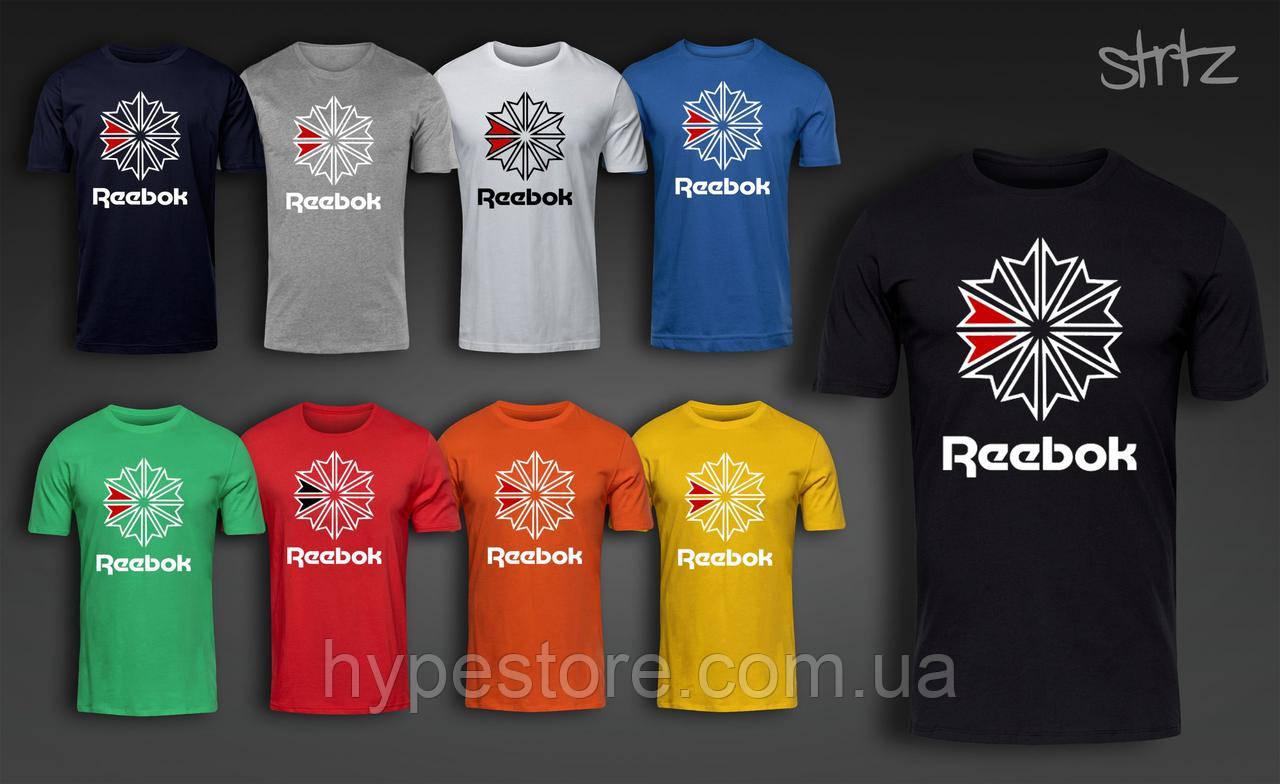 Мужская футболка, спортивная футболка, чоловіча футболка Reebok (большой лого), Реплика