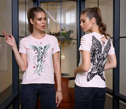 """Женская стильная футболка 90 """"Крылья"""" в расцветках"""