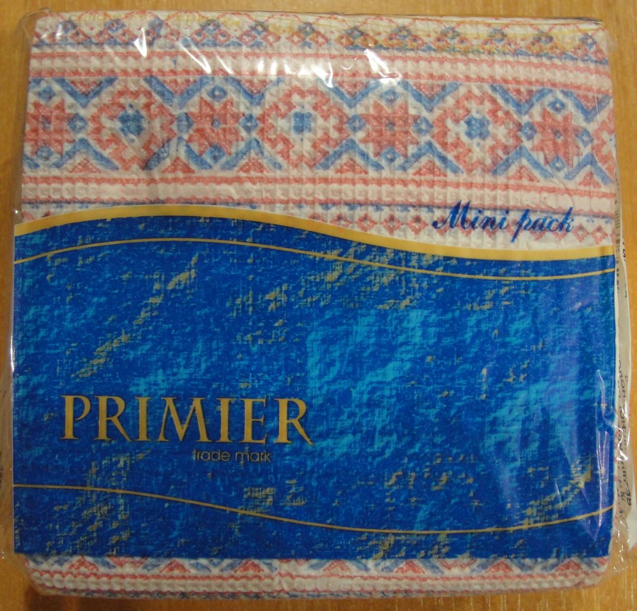 Салфетка бумажная премьер 45л c рисунком в ассортименте