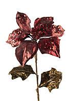 """Искусственный цветок """"Пуансетия"""" Coincasa 60х18см бордовый, бронзовый"""