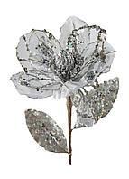 """Искусственный цветок """"Пуансетия"""" Coincasa 66см серебро, серый"""
