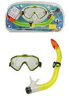 Детская маска и трубка для подводного плавания Delta-Sport S/M Салатовый, Оранжевый, Черный
