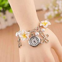 Женские наручные часы браслет Blossom с цветами Белые, фото 1