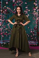 Легкое коттоновое женское удлиненное платье на пуговицах под пояс. Арт - 2547/64, фото 1