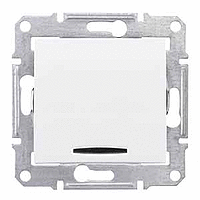 SDN1500121. Одноклавишный переключатель. С подсветкой. Белый. Sedna