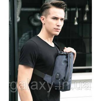 Мужская сумка на грудь на плечо с USB и выходом для наушников