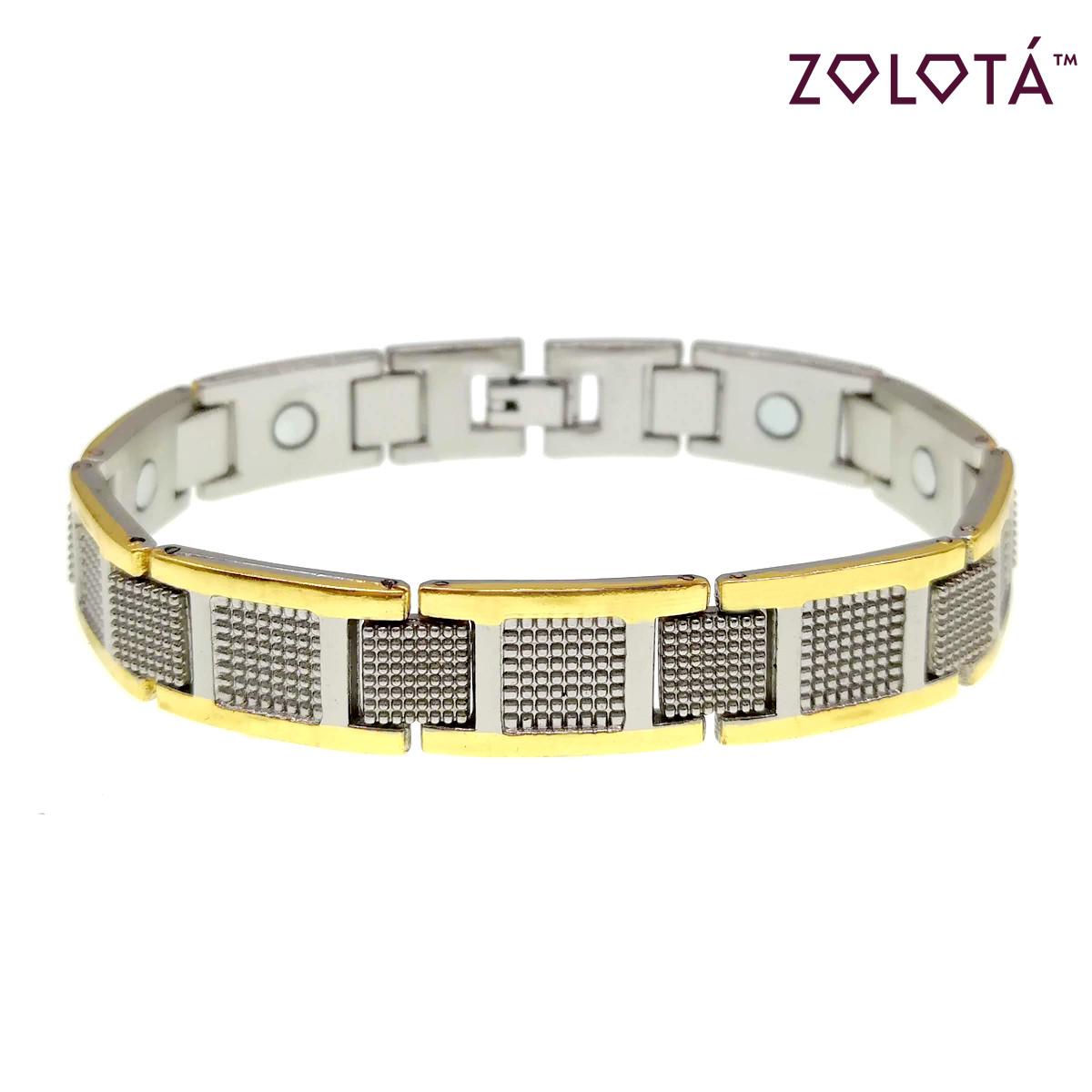 Магнитный браслет с германием и вставками позолоты,  длина 21 см, БР00061 (21 см)