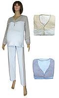 Пижама теплая трикотажная для беременных и кормящих мам 19054 Ketty /серо-голубая/ коттон