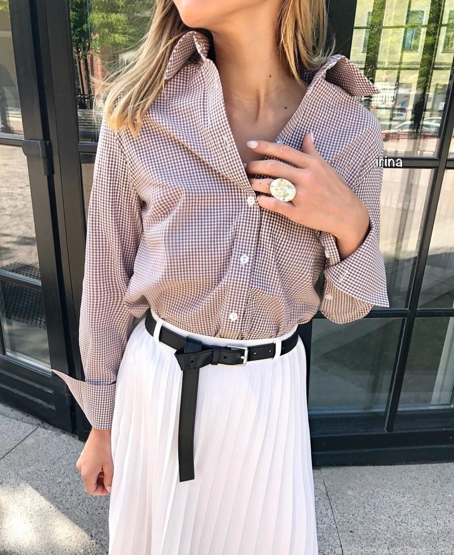 Рубашка женская классическая летняя, легкая, офисная, коттон, длинный рукав, на пуговицах, принт клетка