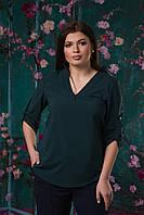 Стильная женская батальная блуза из евро-бенгалина в темных тонах. Арт-2551/64, фото 1