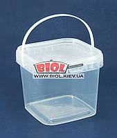 Ведро 1л пищевое (12х12см, h-11см) пластиковое квадратное прозрачное с крышкой и ручкой