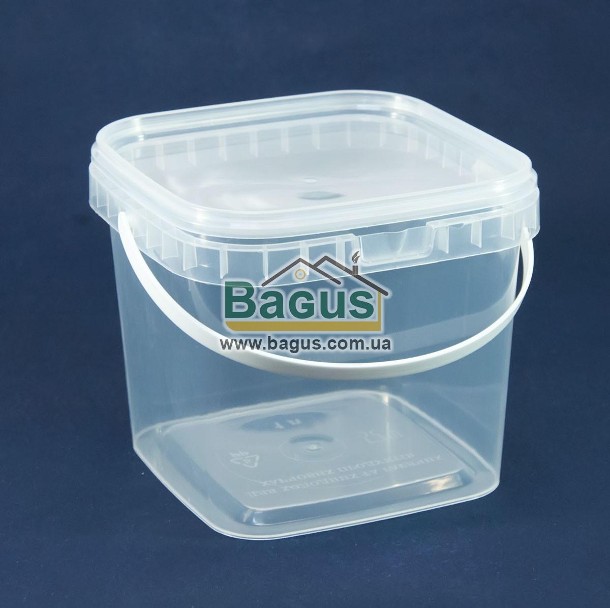 Відро 1л з харчового пластику квадратне з кришкою (прозоре)