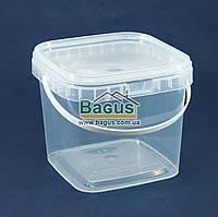 Відро 1л з харчового пластику квадратне з кришкою (прозоре), фото 1
