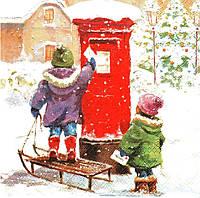 Редкая салфетка для декупажа Дети отправляют письмо Деду Морозу 4622