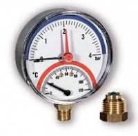 Термоманометр Watts TMAX 80mm 0-10 bar / 0-120 ° С нижняя резьба
