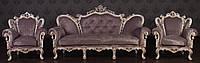 """Комплект мягкой мебели в стиле Барокко """"Изабелла"""", диван и два кресла из натурального дерева"""