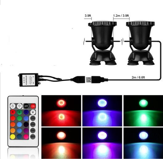 Подводный мультицветной прожектор с пультом ДУ 2х36 LED RGB