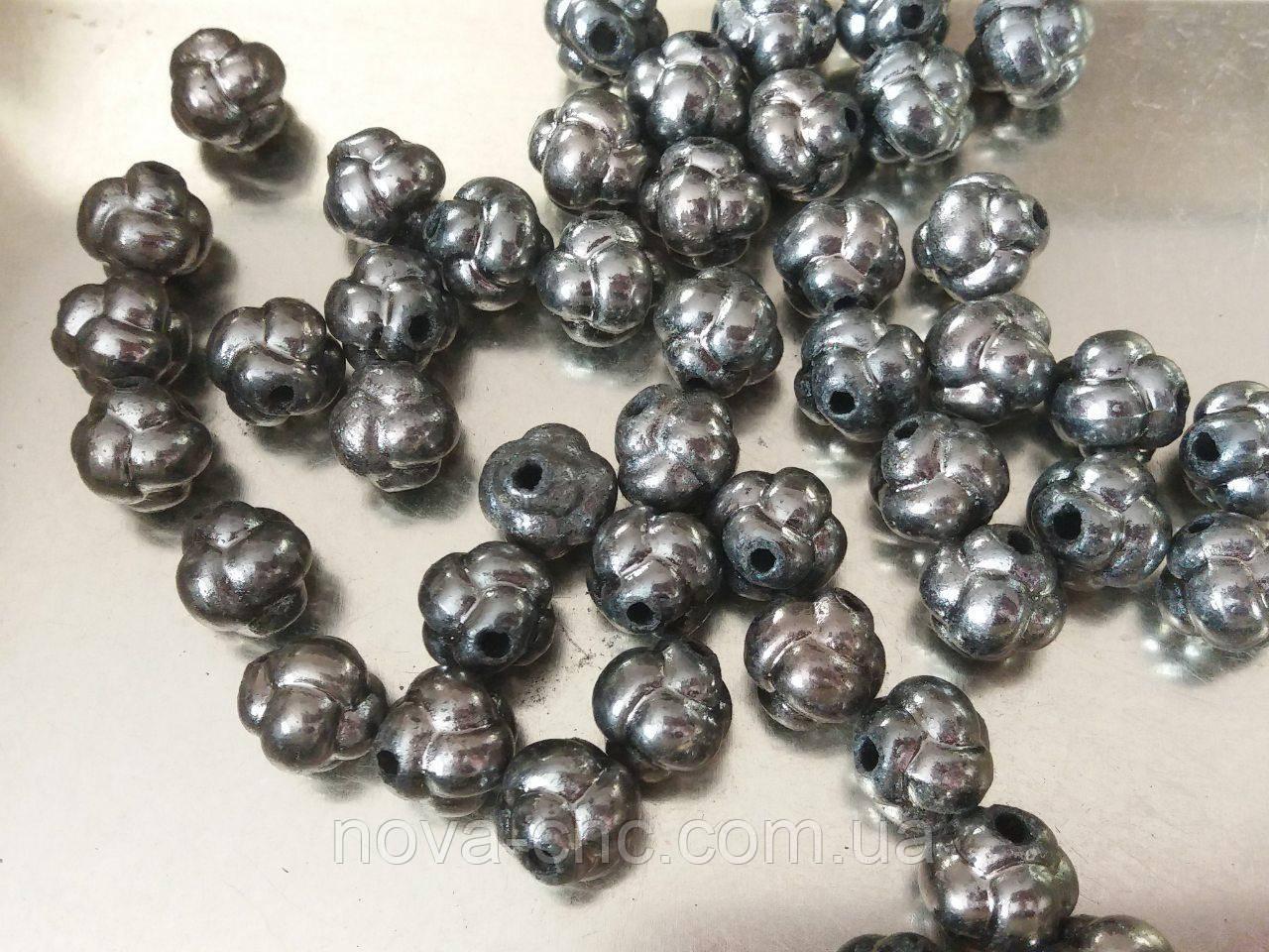 "Бусины ""узел"" серый металик 500 грамм"