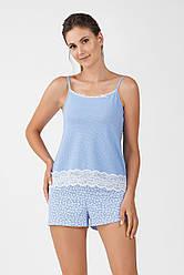 Комплект для сна Ellen шортики+майка хлопок голубой L (46-48) р (233-001)