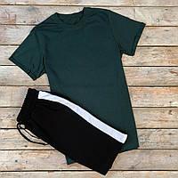 Спортивный костюм мужской летний Black-Green   Комплект мужской Футболка с подкатами + Шорты с лампасами