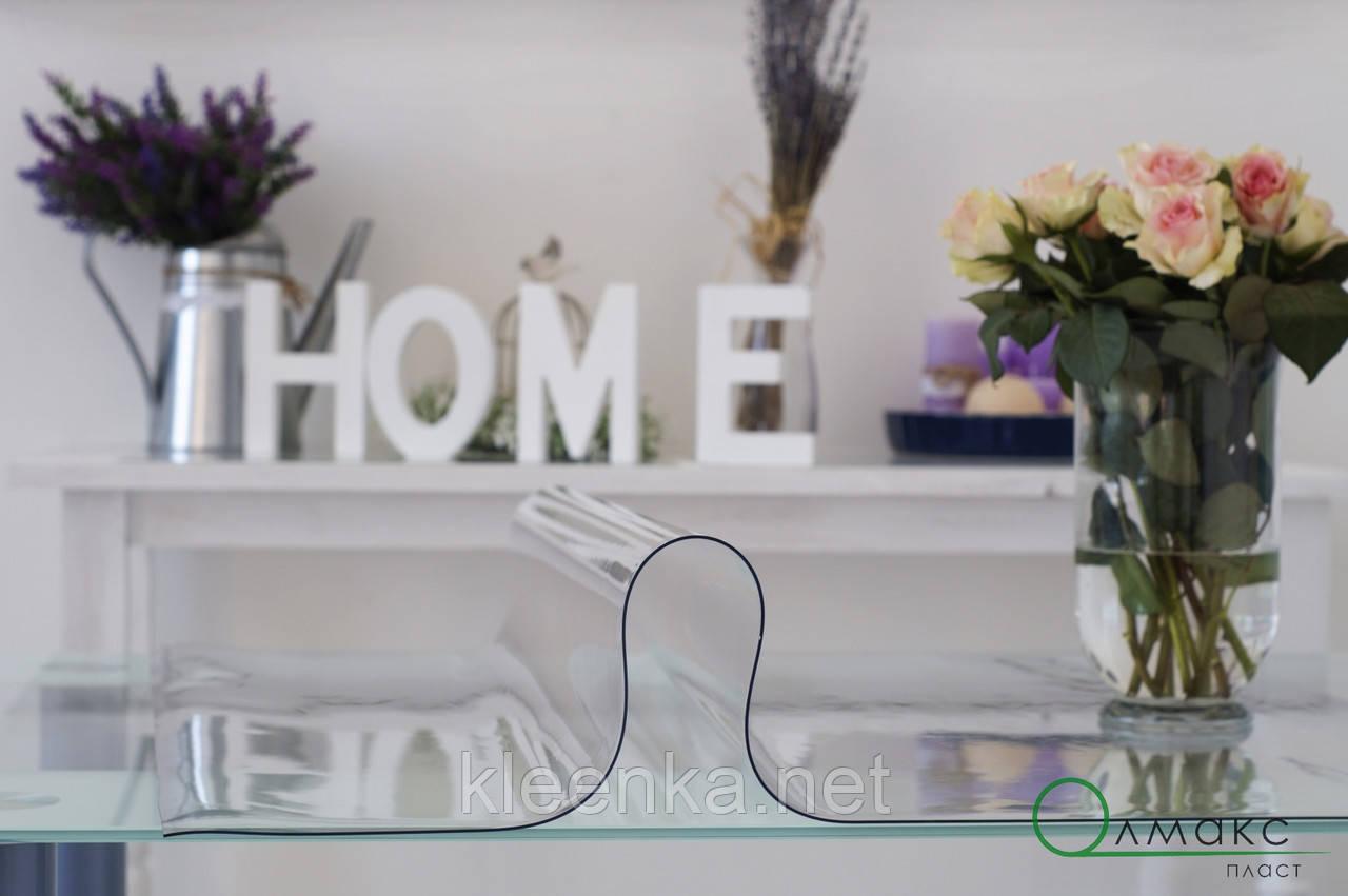 Мягкое стекло, прозрачное плотное покрытие на стол, толщина 2 мм, м'яке скло  для захисту стола ширина 0,7 м
