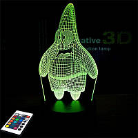 3D светильник с пультом и аккумулятором 3D Lamp Патрик (LP-3026), фото 1