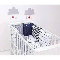 Комплект в кроватку Хатка 17 в 1 черно-белый с синим