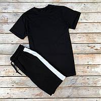 Спортивный костюм мужской Шорты + Футболка с лампасами черный | Комплект летний мужской ТОП качества
