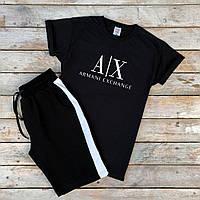 Спортивный костюм мужской Шорты + Футболка с лампасами Armani черный | Комплект летний мужской ТОП качества