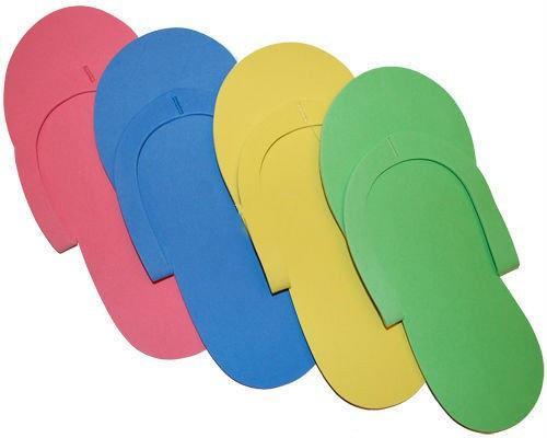 Тапочки одноразовые вьетнамки для педикюра/солярия (ПЕНЕЛОН 2,5 ММ, ЦВЕТНЫЕ)10 пар в упаковке