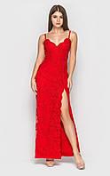 Красное длинное кружевное платье с вырезом на ноге (M)