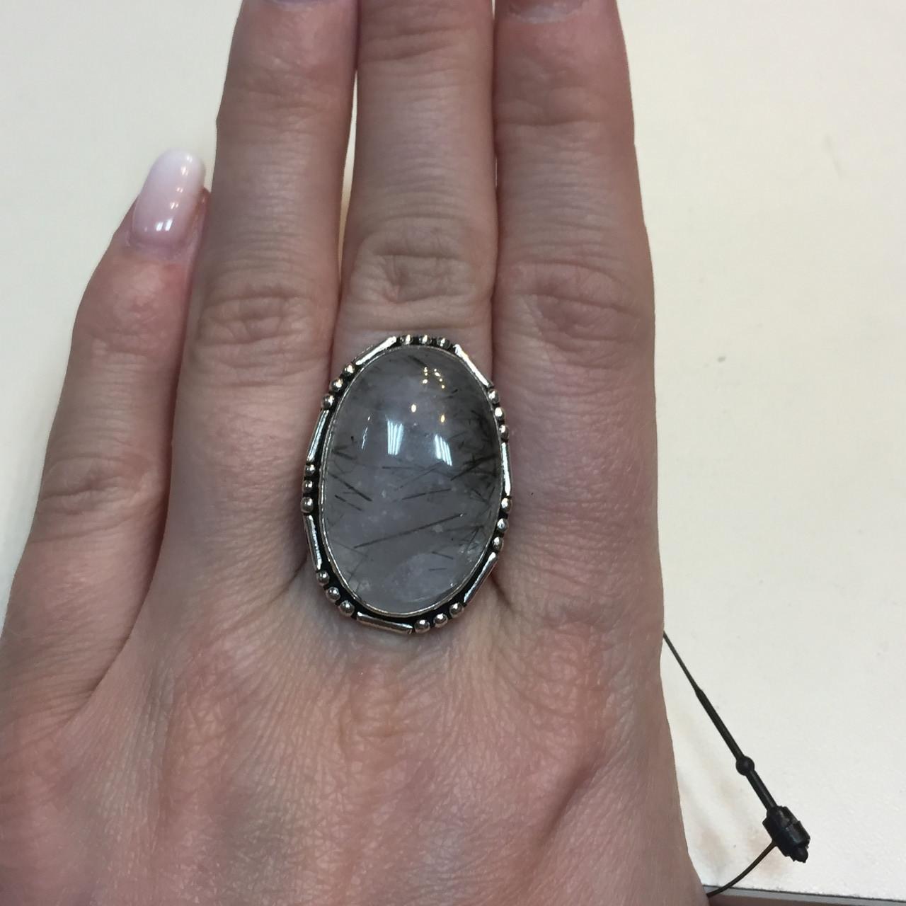 БРОНЬ Турмалиновый кварц кольцо овал с натуральным кварцем-волосатиком в серебре 18,5 размер Индия