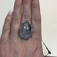 БРОНЬ Турмалиновый кварц кольцо овал с натуральным кварцем-волосатиком в серебре 18,5 размер Индия, фото 1