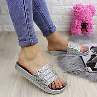 Шлепки женские с камнями Fashion  1032-1 40 размер 25 см Серебро