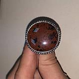 Обсидиан круглое кольцо с натуральным обсидианом в серебре размер 18 Индия!, фото 4