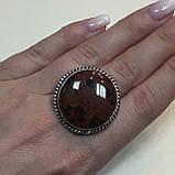 Обсидиан круглое кольцо с натуральным обсидианом в серебре размер 18 Индия!, фото 2