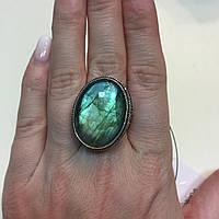 Кольцо овал лабрадор в серебре. Кольцо с лабрадором размер 20 размер Индия, фото 1