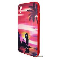 Чехол-накладка TPU+Glass Lumi светящийся в темноте для iPhone Xr (Романтика)