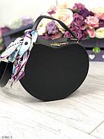 Женская сумочка через плечо на длинном ремешке маленькая сумка кожзам черная