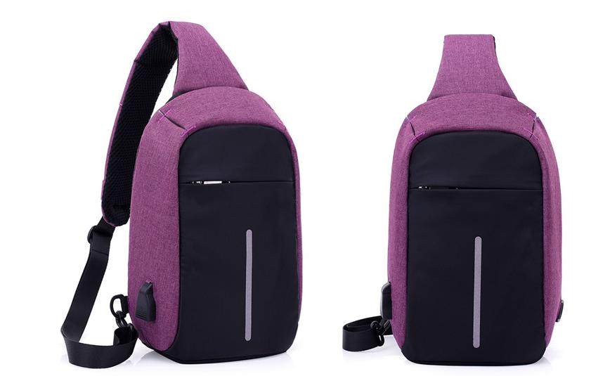 Городской рюкзак-антивор Bobby Mini с USB, Бобби, рюкзак через плечо Фиолетовый